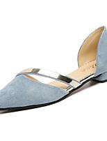 baratos -Mulheres Sapatos Couro Ecológico Primavera Outono Conforto Rasos Sem Salto para Ao ar livre Preto Cinzento Azul Rosa claro