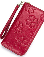 cheap -Women Bags Cowhide Wallet Flower(s) Zipper for Event/Party Office & Career All Season Wine Navy Blue Light Purple Dark Blue Blushing Pink