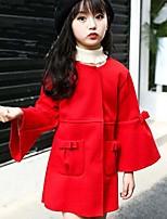 Недорогие -Девочки Куртка / пальто Повседневные На выход Нейлон Однотонный Длинный рукав Очаровательный На каждый день Красный