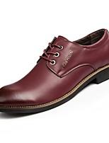 Недорогие -Муж. обувь Полиуретан Осень Удобная обувь Туфли на шнуровке для Повседневные Офис и карьера Черный Коричневый Винный