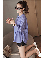 cheap -Women's Casual/Daily Active Spring/Fall Shirt,Striped Round Neck Long Sleeve Cotton Medium