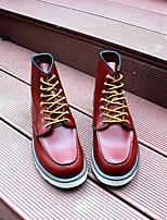 cheap -Men's Shoes Real Leather All Seazons Combat Boots Boots Booties/Ankle Boots for Casual Burgundy