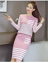 economico -Set Gonna Completi abbigliamento Da donna Per uscire Casual Semplice Primavera/Autunno,Tinta unita Rotonda Cotone Manica lunga Media