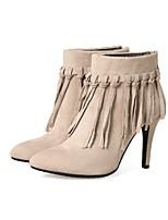 Недорогие -Жен. Обувь Нубук Весна Осень Модная обувь Ботинки На шпильке Заостренный носок Ботинки для Свадьба Для вечеринки / ужина Черный Серый