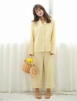 abordables -Costumes Pyjamas Femme,Damier Epais Lin Noir Jaune