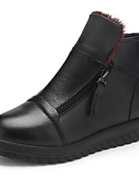 cheap -Women's Shoes PU Winter Fall Comfort Boots Flat Closed Toe Booties/Ankle Boots for Casual Outdoor Black