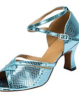 cheap -Women's Latin Faux Leather Sandal Heel Professional Customized Heel Blue / Customizable