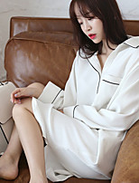 abordables -Satin & Soie Pyjamas Femme,Couleur Pleine Fin Polyester Blanc