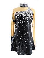 abordables -Robe de Patinage Artistique Femme Fille Patinage Robes Noir Tenue de Patinage Paillette Manches Longues Patinage Artistique