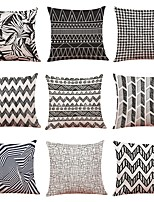 cheap -9 pcs Linen Pillow Cover,Geometric Art Deco Plaid/Check