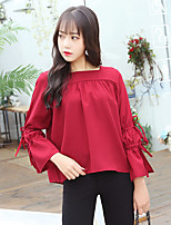 cheap -Women's Casual/Daily Cute Blouse,Solid Square Neck Long Sleeves Polyester