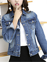 cheap -Women's Daily Simple Winter Fall Denim Jacket,Solid V Neck Long Sleeve Long Cotton Acrylic Oversized