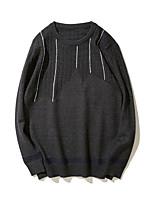 Недорогие -Для мужчин На каждый день Обычный Пуловер Однотонный,Круглый вырез Длинный рукав Хлопок Зима Средняя Слабоэластичная