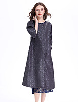 cheap -8CFAMILY Women's Holiday Going out Boho Chinoiserie Spring Summer Coat,Solid Round Neck ½ Length Sleeve Long Polyester Pleated