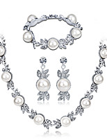 cheap -Women's Bridal Jewelry Sets Rhinestone Imitation Pearl Alloy Circle Formal Fashion Sweet Wedding Party 1 Necklace 1 Bracelet Earrings