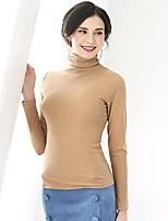 cheap -Baoyan Women's Daily Simple Spring T-shirt,Solid Crew Neck Long Sleeve Nylon