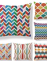 cheap -6 pcs Textile Cotton/Linen Pillow Cover,Striped Geometric Art Deco