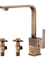 economico -Antico Installazione centrale Separato Valvola in ceramica Una manopola Un foro Rame anticato , Lavandino rubinetto del bagno