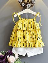 Недорогие -Девочки Набор одежды Хлопок Весна Лето Без рукавов Желтый
