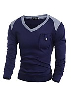 cheap -Men's Daily Casual Short Pullover,Color Block V Neck Long Sleeves Japanese Cotton Spring Fall Thin strenchy