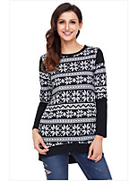 cheap -Women's Daily Casual Winter T-shirt,Striped Round Neck Long Sleeve Polyester