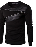 cheap -Men's Going out Sweatshirt Solid Round Neck Micro-elastic Polyester Long Sleeve Winter Fall