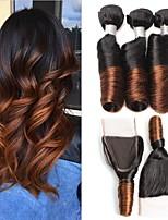 economico -4 pezzi Nero / Media Browm Riccio Peruviano Tessiture capelli umani Extensions per capelli 0.4kg