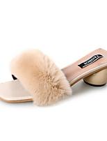 Недорогие -Обувь Кожа / мех Весна Удобная обувь Тапочки и Шлепанцы На низком каблуке для Повседневные Черный Бежевый Кофейный