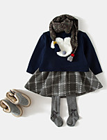 cheap -Girl's Daily Solid Dress,Cotton Bamboo Fiber Spandex Spring Long Sleeves Vintage Navy Blue Blushing Pink