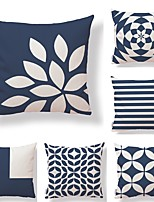 cheap -6 pcs Textile Cotton/Linen Pillow Cover,Striped Plaid/Checkered Geometric