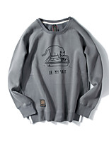 cheap -Men's Plus Size Daily Vintage Sweatshirt Solid Round Neck Without Lining >75% Cotton Acrylic Others Short Sleeve Summer