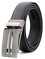 cheap -Men's Genuine Leather Waist Belt,Black Work Casual Plaid Pure Color