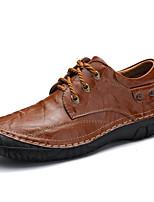 baratos -sapatos Pele Napa Primavera Outono Conforto Sapatos formais Oxfords para Casual Festas & Noite Preto Marron