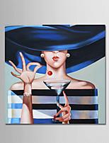 Недорогие -Ручная роспись Люди Квадратный, Современный Modern холст Hang-роспись маслом Украшение дома 1 панель