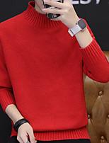 Недорогие -Для мужчин Повседневные Короткий Пуловер Однотонный,Круглый вырез Длинные рукава Полиэстер Зима Толстая strenchy