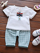 cheap -Baby Unisex Daily Print Clothing Set,Cotton Summer Simple Short Sleeve Green
