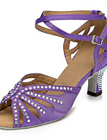 "cheap -Women's Latin Leatherette Sneaker Training Trim Stiletto Heel Almond Purple Black 2"" - 2 3/4"" Customizable"