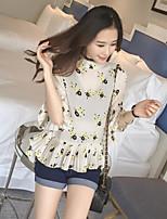 cheap -Women's Casual/Daily Cute Shirt,Geometric Round Neck ½ Length Sleeve Silk