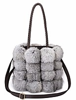 cheap -Women Bags Fur Tote Zipper for Outdoor Winter Fall Brown Gray Black White