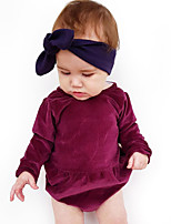cheap -Baby Girls' Daily Solid One-Pieces, Cotton Linen Bamboo Fiber Acrylic Spring Simple Vintage Short Sleeves Purple