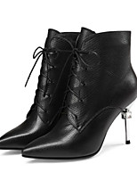 cheap -Women's Shoes Nappa Leather Cowhide Spring Fall Comfort Bootie Boots Stiletto Heel Booties/Ankle Boots for Casual Black Red