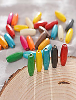 cheap -DIY Jewelry 30 pcs Beads Rainbow Round Wood-Plastic Composite Bead 0.8*0.23 cm DIY Bracelet Necklace
