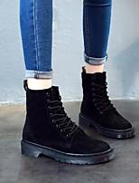 baratos -Feminino Sapatos Pele Inverno Outono Coturnos Botas Salto Robusto Ponta Redonda Botas Cano Médio para Casual Preto