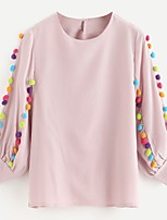 cheap -Women's Daily Holiday Cute Active Street chic Spring Fall Blouse,Solid Rainbow Round Neck ¾ Sleeve Cotton Rayon