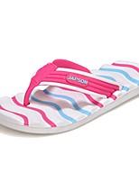 Недорогие -Для женщин Обувь Этиленвинилацетат Весна Лето Светодиодные подошвы Тапочки и Шлепанцы Плоские Круглый носок Оборки сбоку для Повседневные