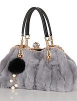 preiswerte -Damen Taschen Pelz Tragetasche Perlen Verzierung für Veranstaltung / Fest Normal Alle Jahreszeiten Schwarz Grau Braun