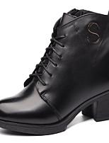 preiswerte -Damen Schuhe Nappaleder Leder Winter Herbst Komfort Springerstiefel Stiefel Blockabsatz Booties / Stiefeletten für Normal Schwarz