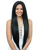 cheap -Remy Human Hair Lace Front Wig Yaki With Baby Hair 130% Density African American Wig Short Medium Long Women's Human Hair Lace Wig