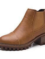 baratos -Feminino Sapatos Couro Ecológico Primavera Outono Conforto Curta/Ankle Botas Salto Robusto para Casual Preto Marron