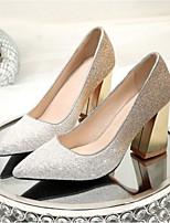 preiswerte -Damen Schuhe PU Frühling Sommer Komfort High Heels Blockabsatz Geschlossene Spitze für Hochzeit Normal Weiß Schwarz Rosa